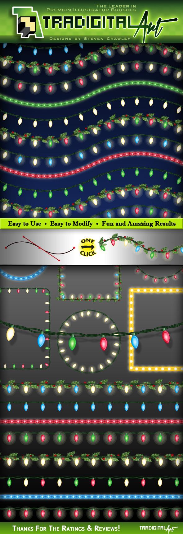 Christmas Lights Brushes Set 2 - Styles Illustrator