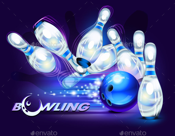 Bowling Game over Blue - Sports/Activity Conceptual