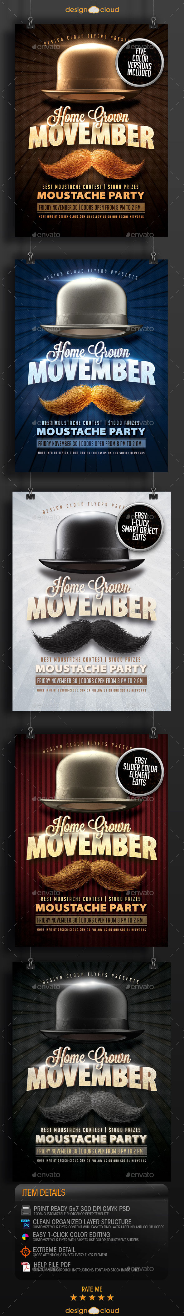 Movember Home Grown Moustache Party Flyer Template - Miscellaneous Events