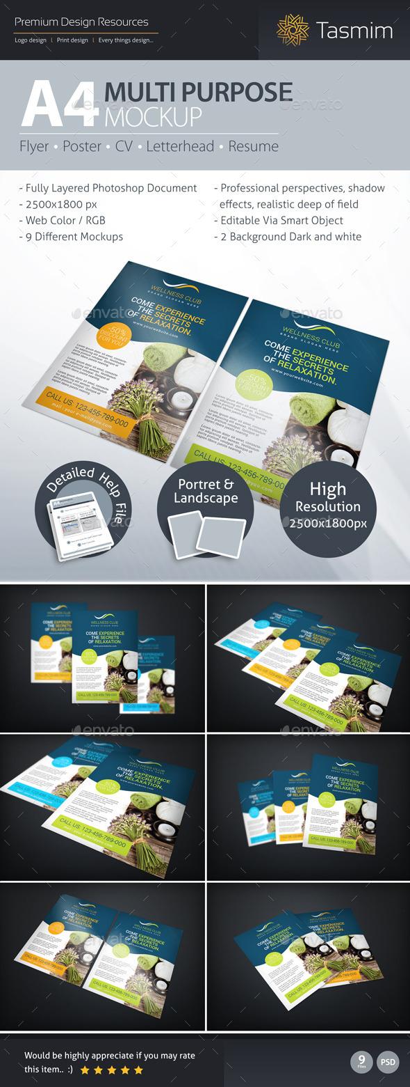 A4 Multi Purpose Mockup - Flyers Print