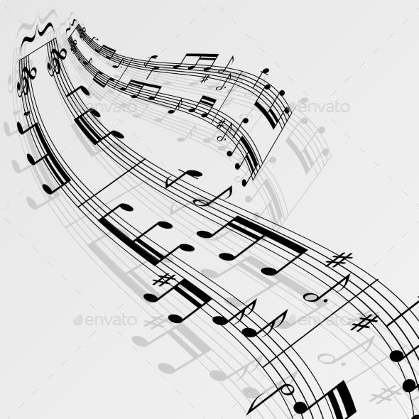 Music Notes Wave Background - Decorative Symbols Decorative