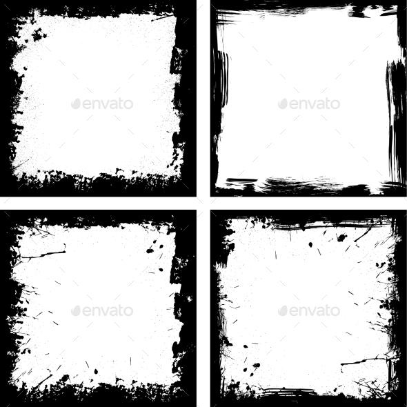 Four Grunge Frames - Decorative Vectors