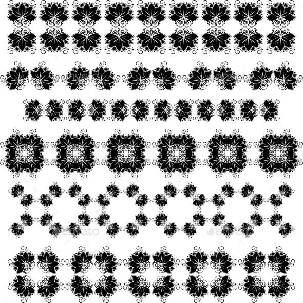Lotos Black Stroke Set - Flowers & Plants Nature