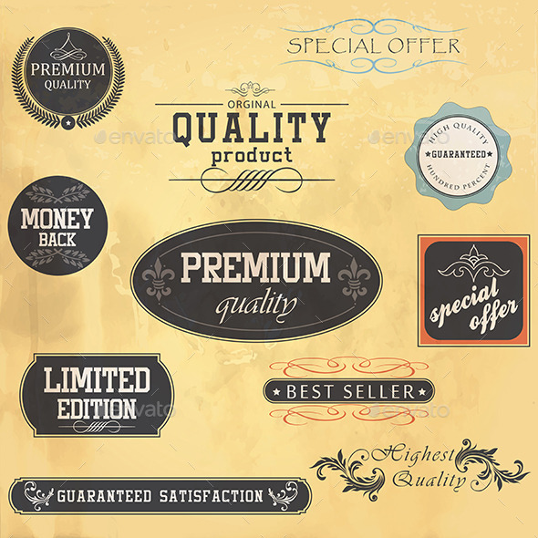 Premium Quality and Guarantee Labels - Commercial / Shopping Conceptual