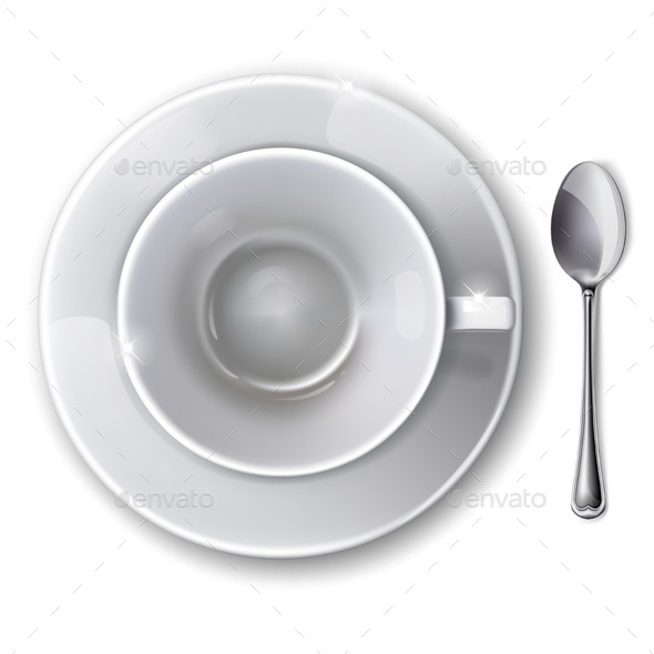Cup, Saucer and Spoon - Food Objects