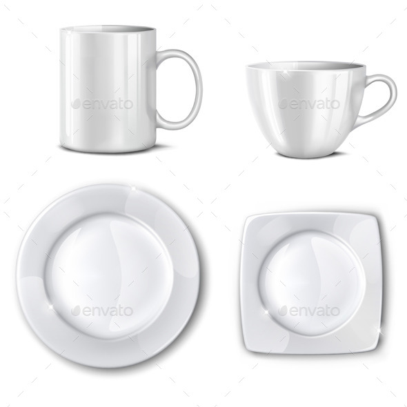 Set of Cups and Plates - Food Objects