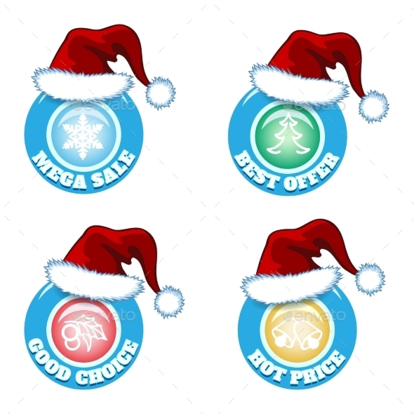 Seasonal Badges with Santa Hats - Retail Commercial / Shopping
