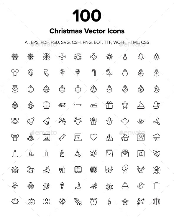100 Merry Christmas Icons - Seasonal Icons