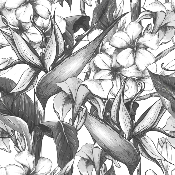 Monochrome Seamless Pattern with Exotic Flowers - Flowers & Plants Nature