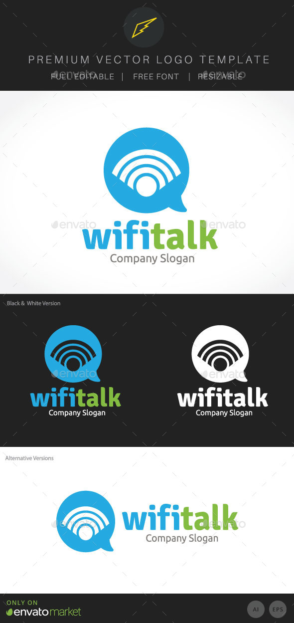 Wifi Talk - Symbols Logo Templates