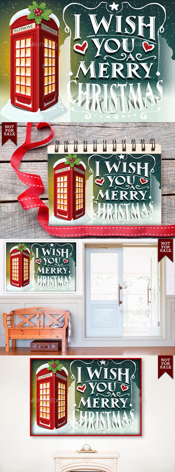 Christmas Greeting Card with English Red Cabin  - Christmas Seasons/Holidays