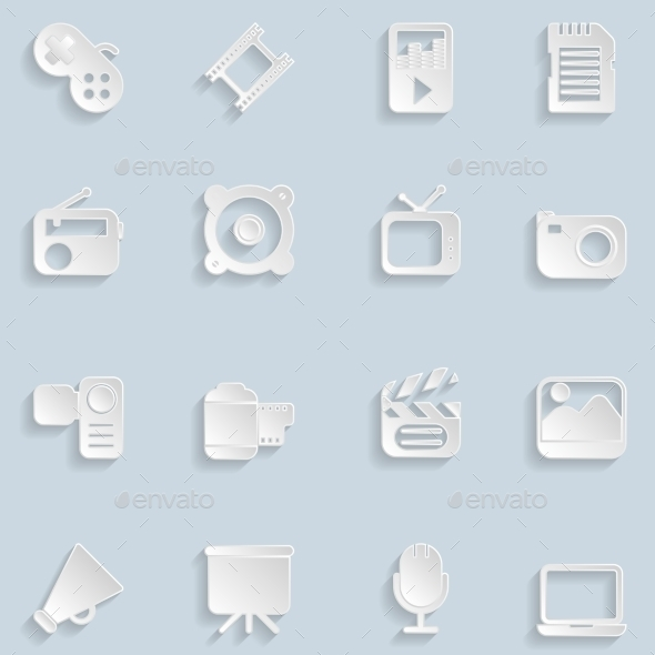 Paper Multimedia Icons - Technology Icons