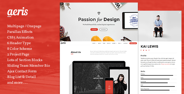 AERIS - Creative Parallax Template - Creative Site Templates