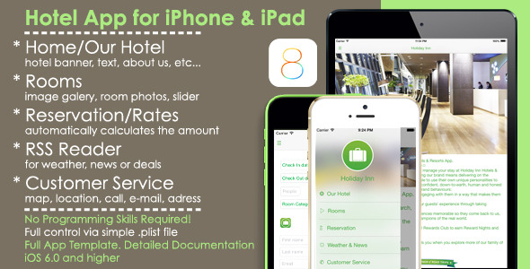 Hotel App Full iOS Template for iPhone/iPad - CodeCanyon Item for Sale