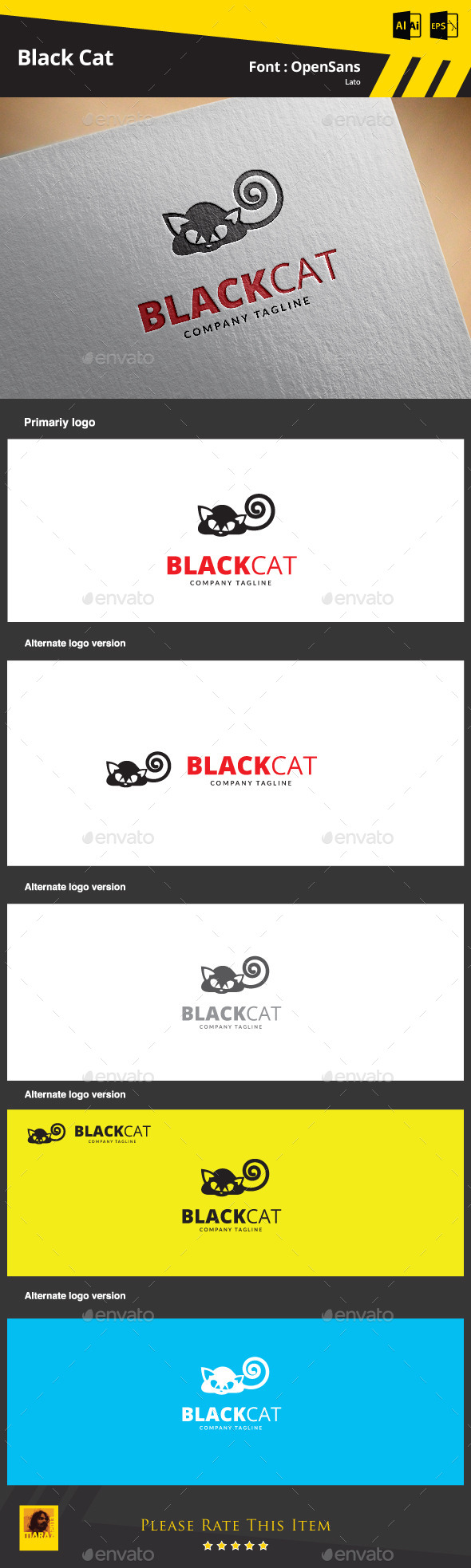 Black Cat - Animals Logo Templates