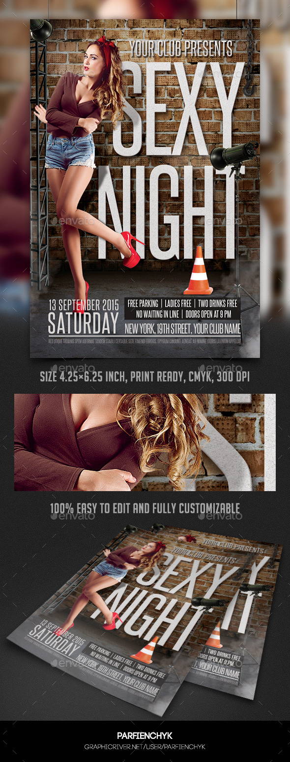 Sexy Night Party Flyer Template - Clubs & Parties Events