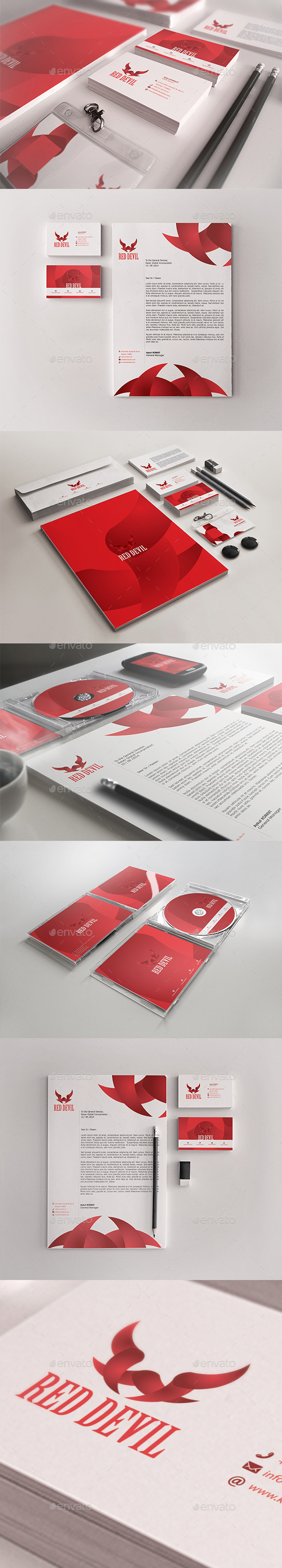 Red Devil Corporate Identity Package - Stationery Print Templates