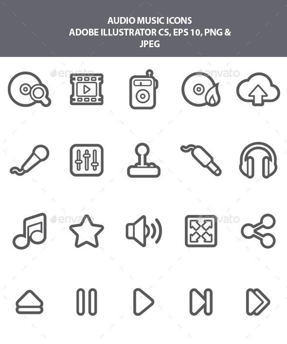 Audio Music Icons - Media Icons