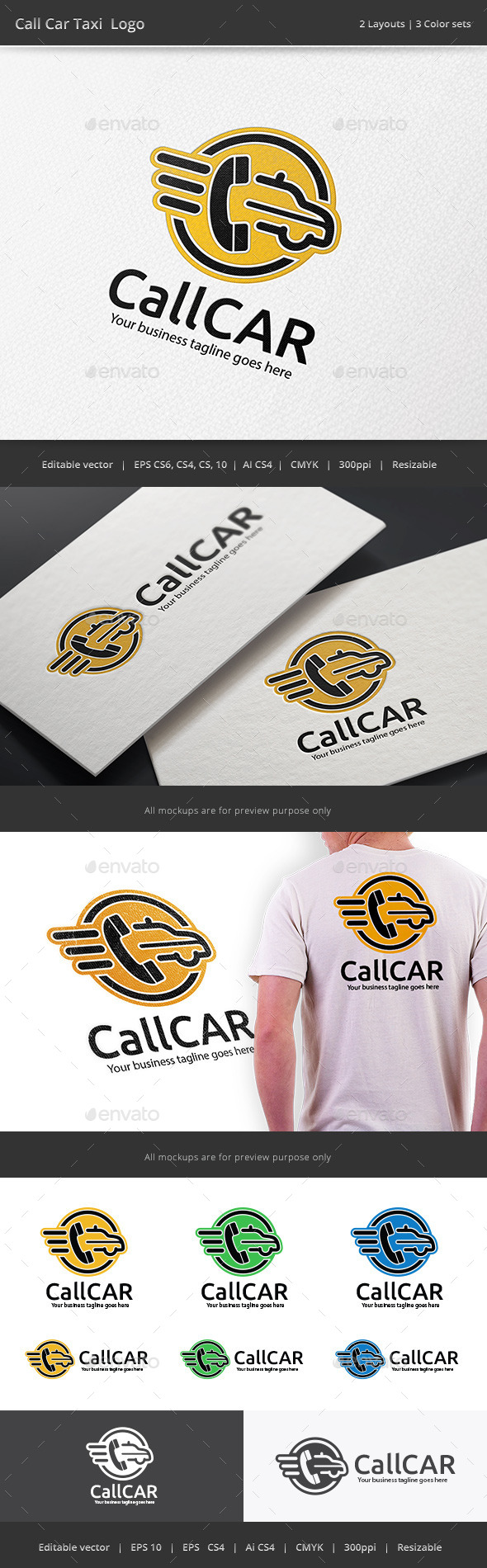 Call Taxi Car Logo - Objects Logo Templates