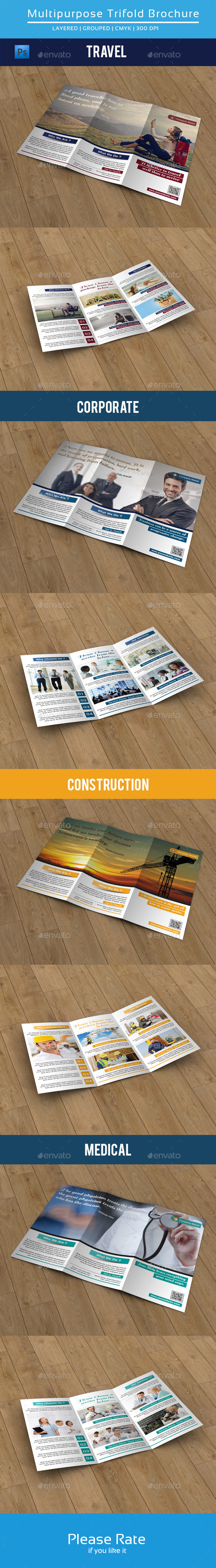 Clean Multipurpose Trifold Brochure-V79 - Corporate Brochures
