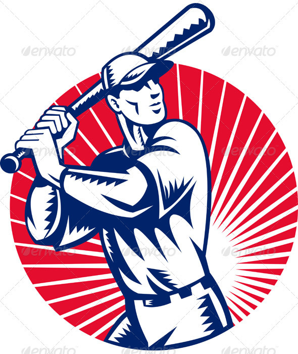 Baseball Player With Bat Batting Retro Style - Sports/Activity Conceptual