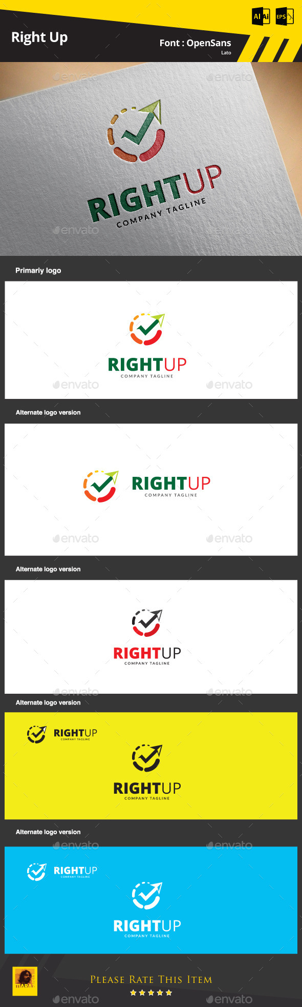 Right Up Logo Template - Symbols Logo Templates