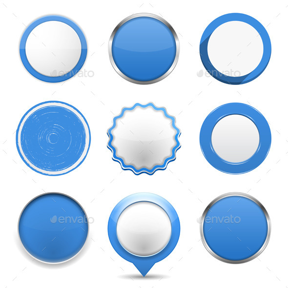 Blue Round Buttons - Web Elements Vectors