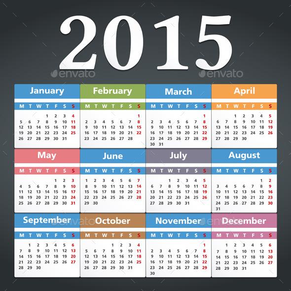 2015 Calendar - Miscellaneous Vectors