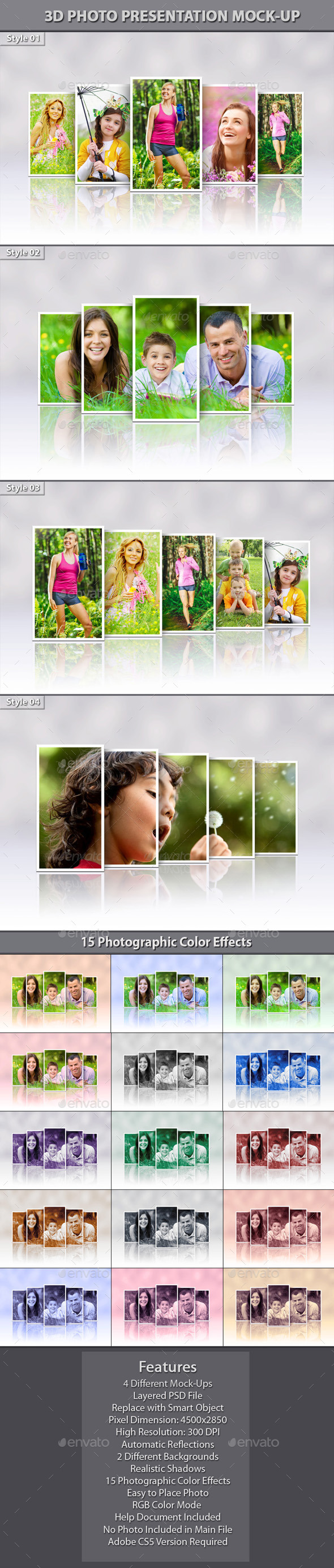 3D Photo Presentation Mock-Up - Miscellaneous Photo Templates