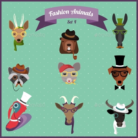 Fashion Hipster Animals Set  - Animals Characters