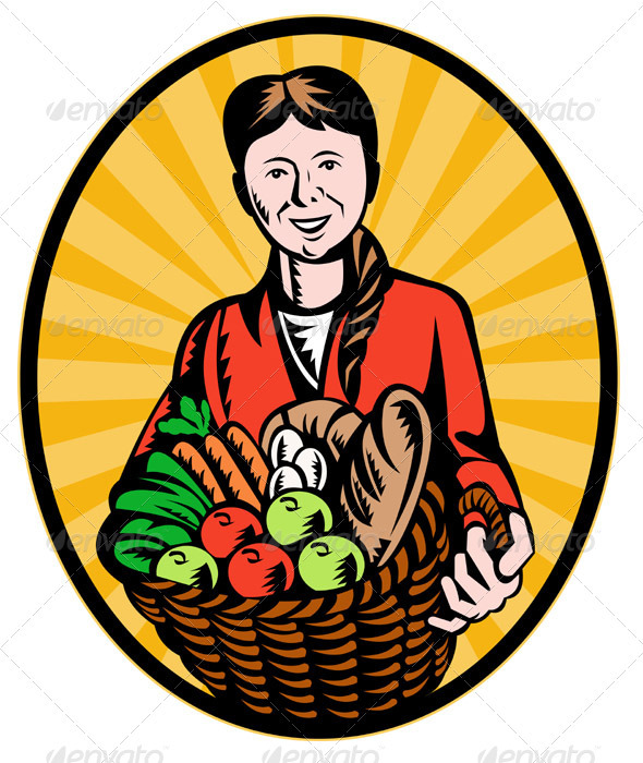 Female Organic Farmer With Basket Of Harvest - Industries Business