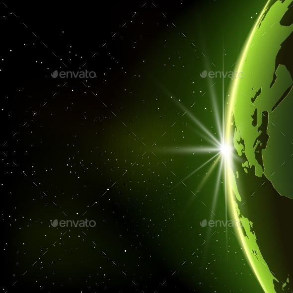 Vector Planet Earth Illustration in Space - Backgrounds Decorative