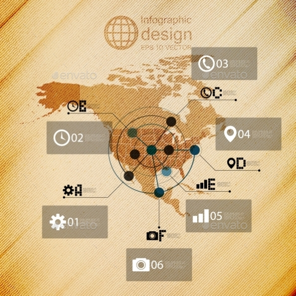 North America Map, Infographic Design Illustration - Web Technology