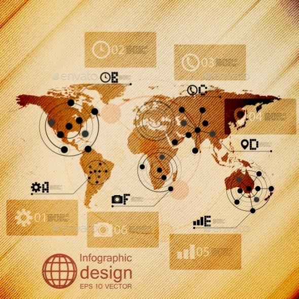 World Map, Infographic Design Illustration - Web Technology