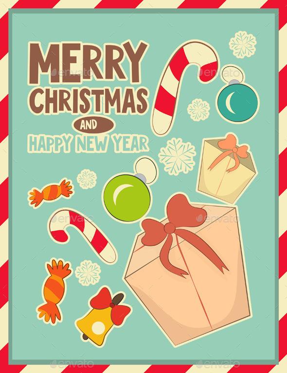 Christmas Retro Postcard with Toys and Gift Box - Christmas Seasons/Holidays