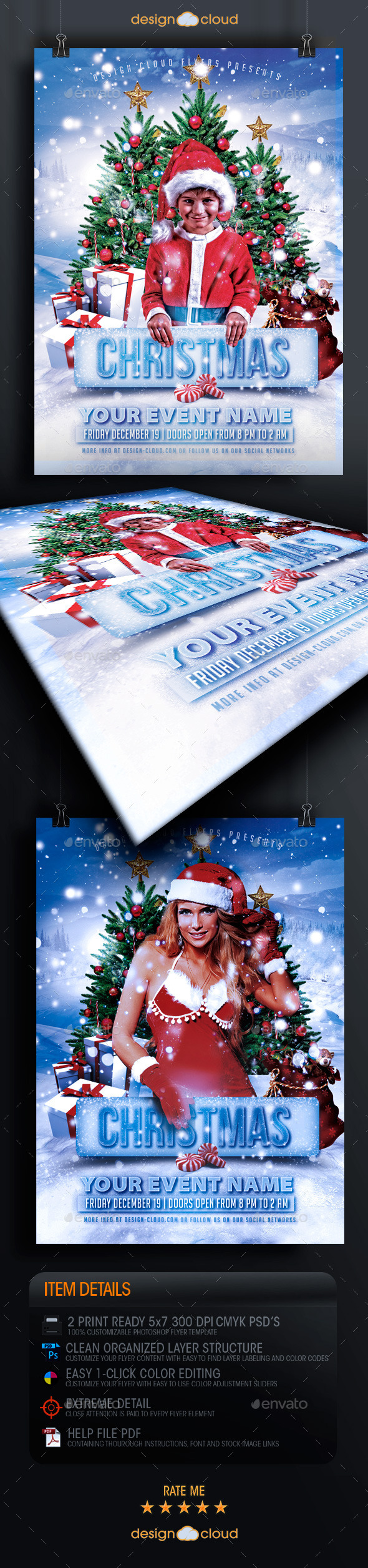 Christmas Party and Event Flyer Template - Holidays Events