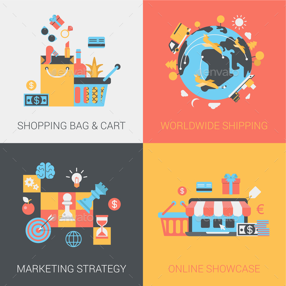 Shopping, Shipping, Marketing Strategy and Online Store Flat - Concepts Business