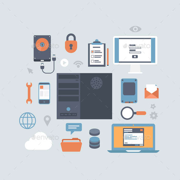 Server Computing Hosting Modern Flat Style Equipment - Computers Technology