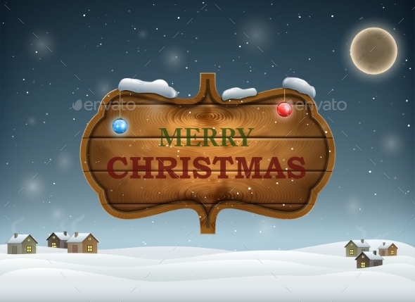 Christmas Evening With Wooden Board. - Christmas Seasons/Holidays