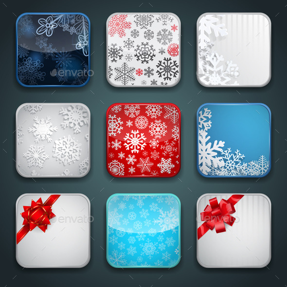 Backgrounds for Christmas Apps Icons - Vectors