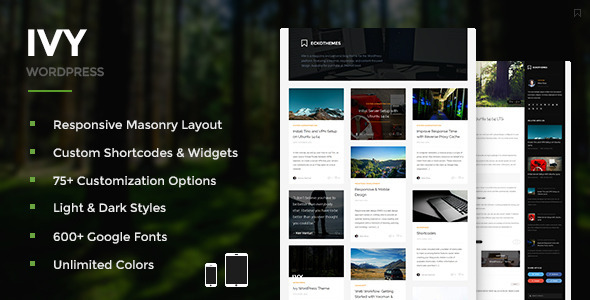 Ivy – Responsive Masonry WordPress Theme