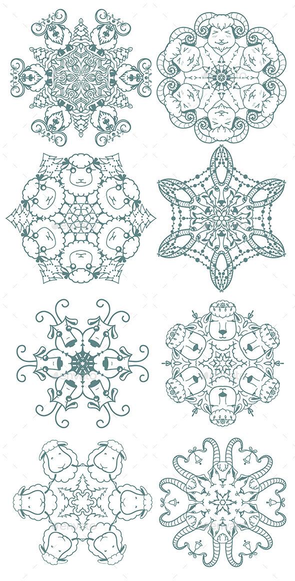 Doodle Snowflakes - Christmas Seasons/Holidays