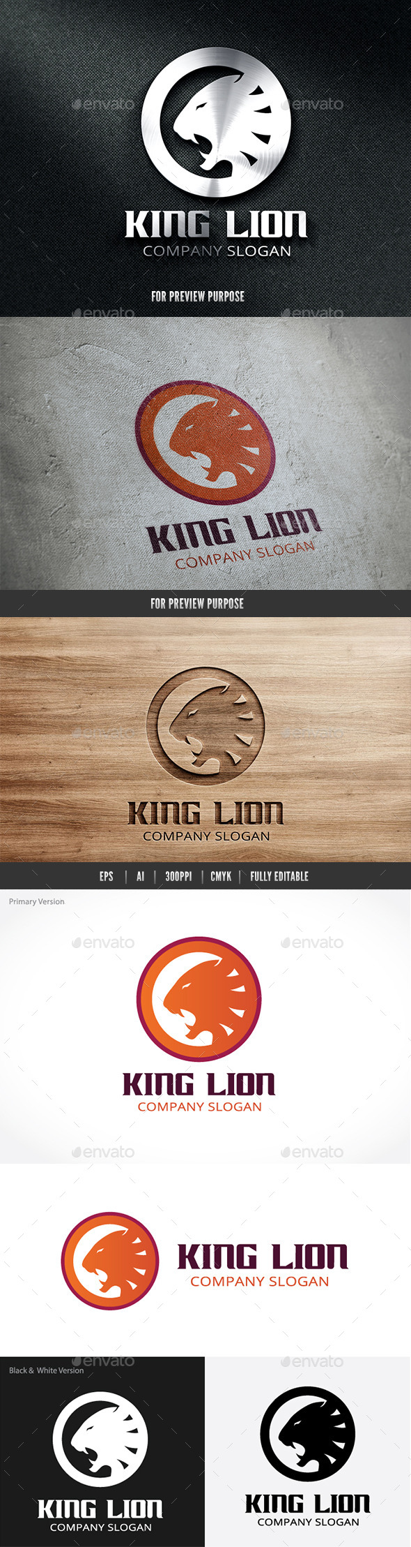 King Lion - Crests Logo Templates
