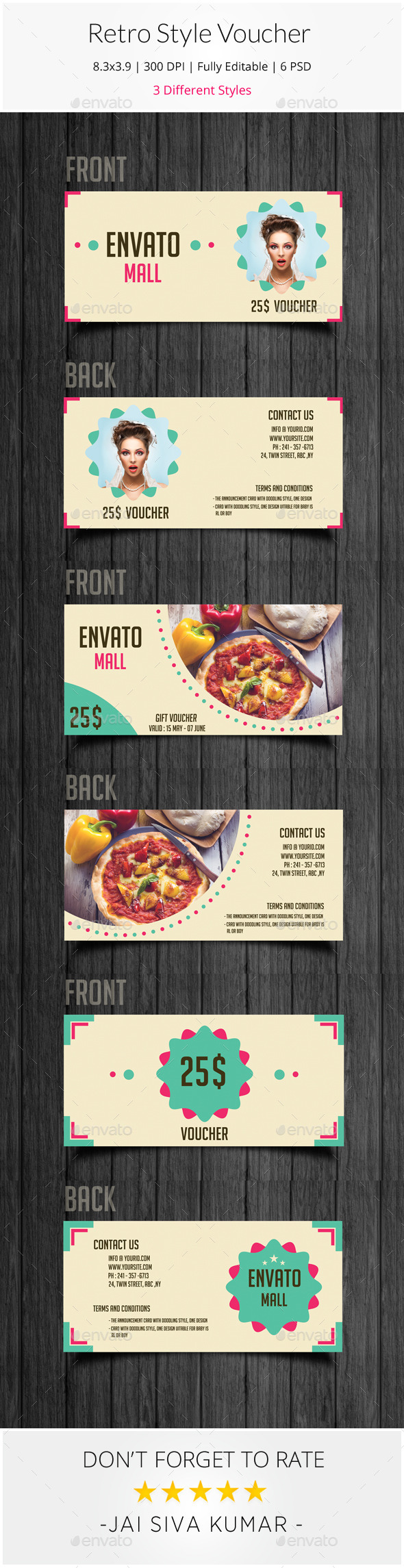 Retro Style Gift Voucher - Loyalty Cards Cards & Invites