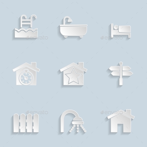 Paper Real Estate Icons - Icons