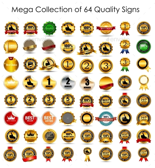 Collection of 64 Quality Label Signs - Web Technology