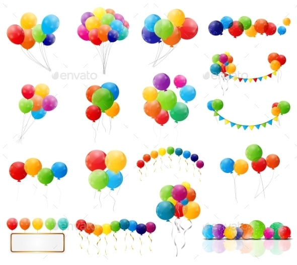 Color Glossy Balloons Set  - Web Technology