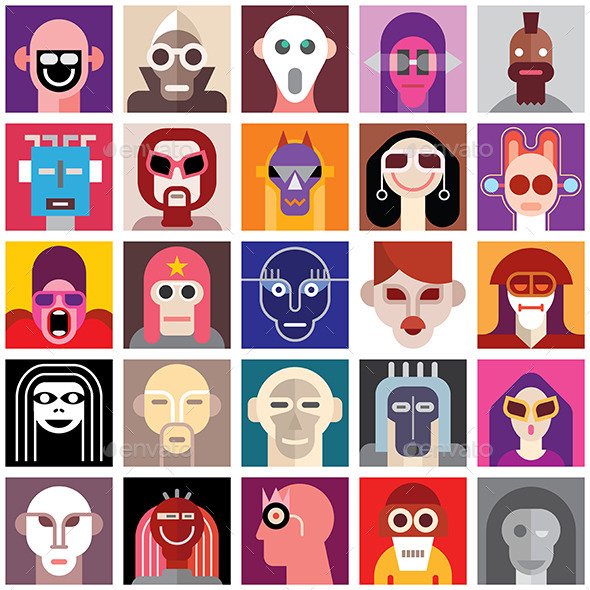 People Wearing Masks - People Characters