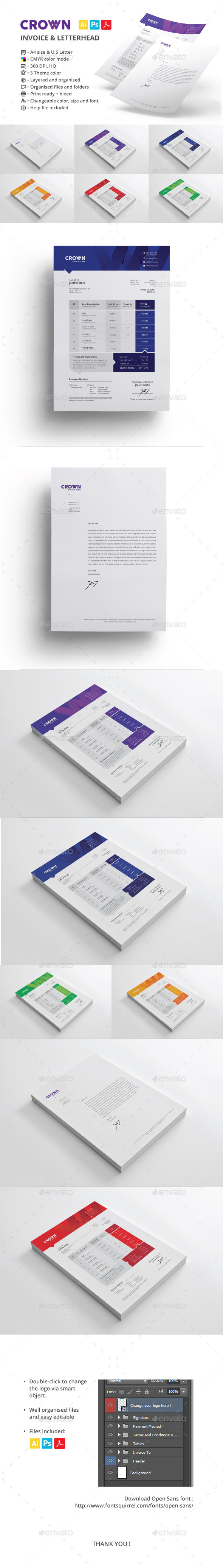 Crown Invoice & Letterhead - Proposals & Invoices Stationery