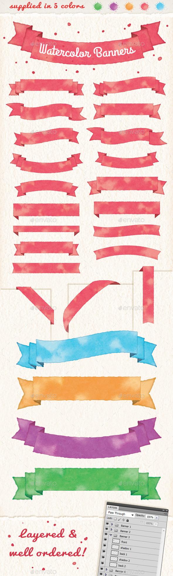 Watercolor Banners & Ribbons - Decorative Symbols Decorative